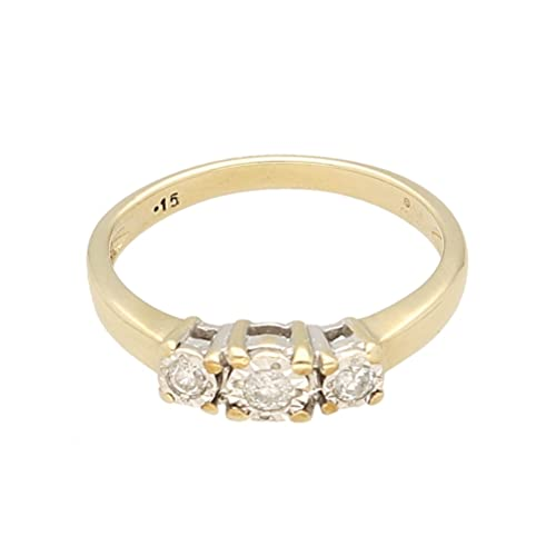 Anillo de oro amarillo de 9 quilates para mujer con diamantes de 0,15 quilates, anillo de tres piedras (tamaño M) 11 x 4 mm, anillo de lujo para mujer