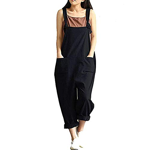 DOTBUY Damen Latzhose Jumpsuits Playsuit Overall mit Taschen Sommer Casual Elegant Loose Baggy Leinen Lange Wide Leg Hosen (2XL,Schwarz)