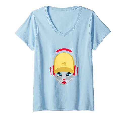 Mujer Gato con auriculares Camiseta Cuello V