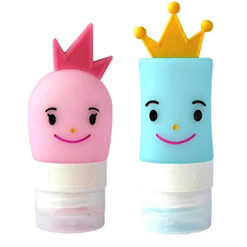 JBNS Silikon-Reise Flaschen Prinz Prinzessin Reise Container Leak Proof Nachfüllbar Tragbare Reise-Flasche Für Shampoo Lotion Liquid, Camp Ferien-Reise-zubehör 2st