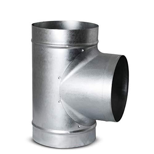 MKK - Junta en T para conducto en espiral, junta de labio de goma, reducción de ventilación, 100 mm de diámetro, 100 mm de diámetro