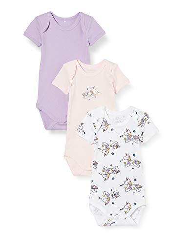 Name IT NOS baby-girls NBFBODY 3P SS LAVENDULA UNICORN AOP NOOS Rompers, 86