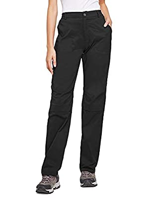 BALEAF Women's Lightweight Hiking Pants Convertible Roll Up UPF 50 Stretch Outdoor Capri Pants Water Resistant Black M