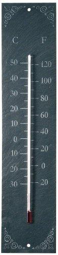 Esschert Thermometer aus Schiefer, rechteckig mit Ornament, grau, LS006