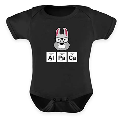 SPIRITSHIRTSHOP Divertido diseño de Lama alpaca de alpaca con símbolos químicos y gafas de sol, body para bebé Negro 12-18 Meses
