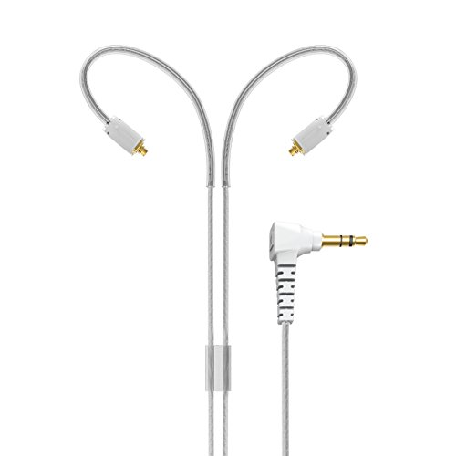 """MEE audio MMCX Extended-Length Stereo Audio Cable with Memory Wire Earhooks for M7 PRO and Other in-Ear Headphones (72"""", Clear)"""