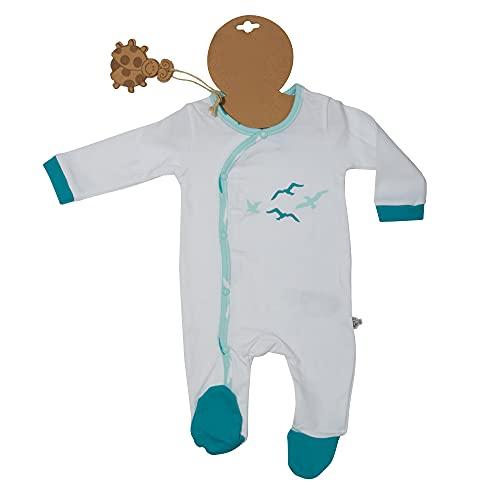 Schlafanzug, Bio-Baumwolle, türkis, Seevögel, weiß, 9-12 Monate, Global Organic Textile Standard zertifiziert