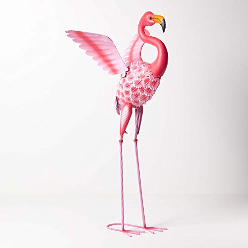 HOMESCAPES Metal Garden Bright Pink Flamingo Statue with Raised Wings and Detailed Feathers Handcrafted from 100% Iron Free Standing Lawn Ornament Decoration, 86 cm Tall