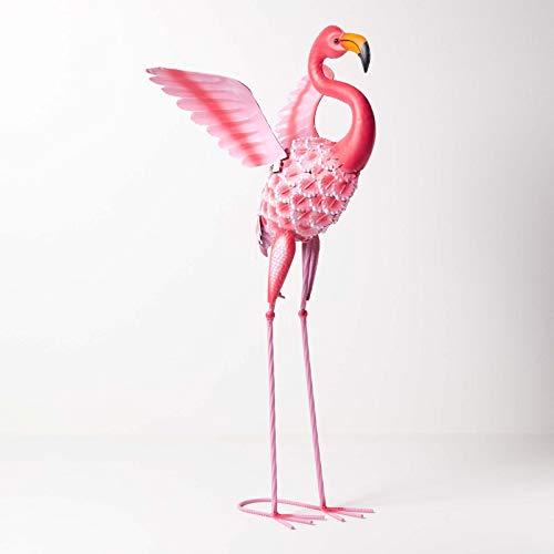 Homescapes Garten Deko Flamingo Metall Figur, handbemalt Metallvögel Dekofigur aus Eisen, Gartenfigur für Garten Teich und Balkon, Teichdeko Tierfigur, rosa ca. 87 cm hoch