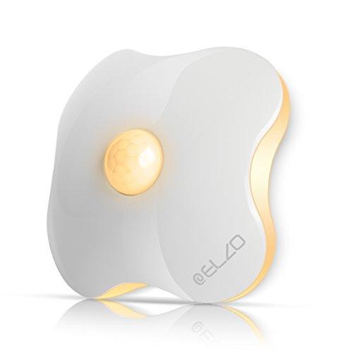 ELZO Nachtlicht mit Bewegungsmelder, LED Bewegungsmelder Licht, Auto ON/Off Nachtlicht, Batterie-Powered Treppen Licht, Schrankleuchten, Schrank Lichter für Flur, Schlafzimmer, Warmes Weiß