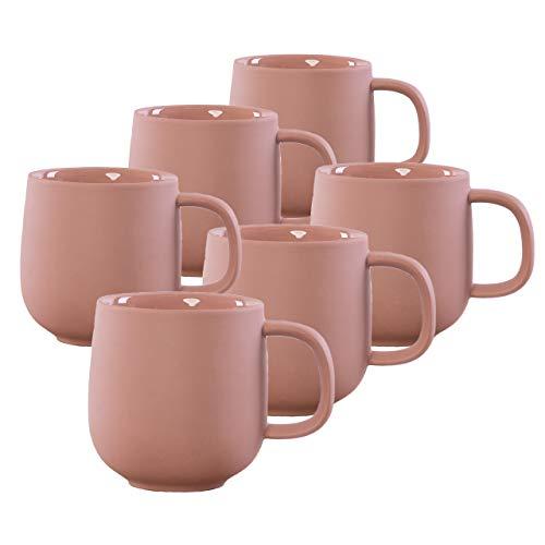 KØZY LIVING Keramik Tasse 6 Stk - 350 ml Tassen-Set mit Henkel in skandinavischem, nordic Design - perfekt für Kaffee oder Tee - lachsrosa (matt)