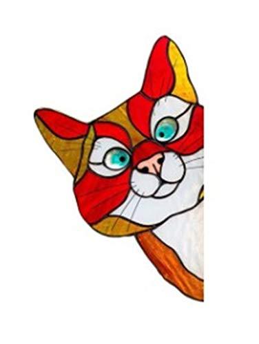 LASULEN Peeking Cat Stain Glass Stickers, Peeking Cat Stained Glass Window Hangings, Stained Glass Window Hangings Cats, Window Wall Stickers Funny Cute Pet Cat Stickers, Personality Pet Stickers