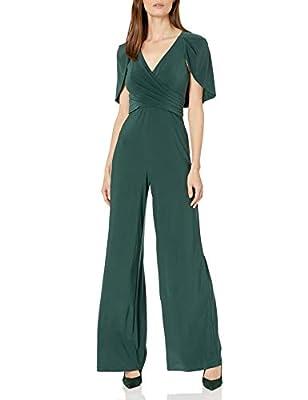 Adrianna Papell Women's Plus Size Draped Jersey Jumpsuit, Dusty Emerald, 14W