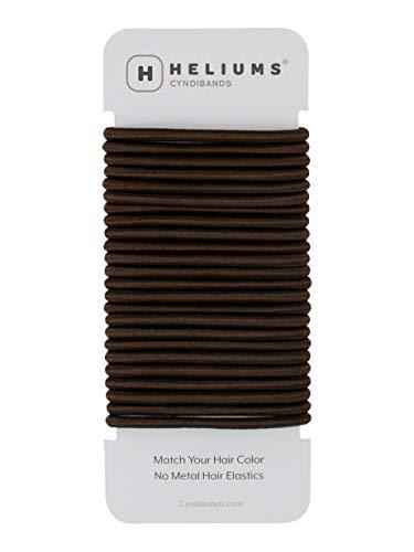 Cyndibands Darkest Brown Brunette No-Metal 4mm, 1.75 Inch Elastic Hair Ties Color Match Ponytail Holders - 24 Count