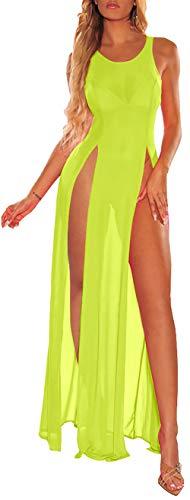 FairBeauty – Saída de praia feminina de malha transparente, Fluorescent Green, S