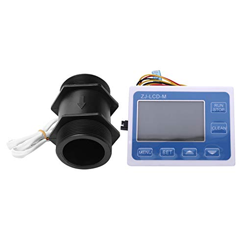 Iycorish Control de Pantalla Digital Lcd Medidor de Sensor de Agua de Caudal de 2 Pulgadas Programable