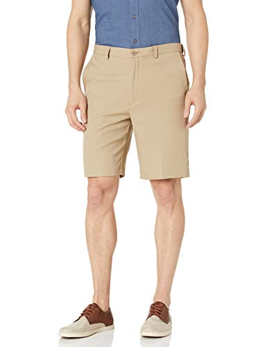 Haggar Men's Cool 18 Pro Straight Fit Stretch Solid Flat Front Short, Khaki, 42