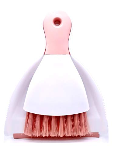 Xifando Mini Cleaning Brush with Dustpan Set,Plastic Mini Broom and Dustpan,Desktop Cleaning Set (Pink)