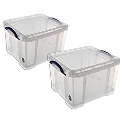 This Really Useful Box has a 35 litre capacity and is a pack of 2. It is a transparent, solid plastic box for multi-purpose storage. This 35 litre Really Useful box comes with a lid and clip lock handles to keep its contents secure. It can be used as...