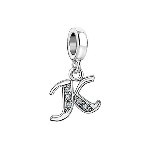SBI Jewelry Initial Letter Charm for Bracelets Crystal Pendant Necklace K Charm for Wife Sister Mum Birthday Anniversary