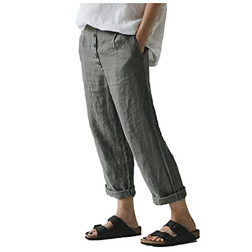 Liably Pantalones de algodón y lino para mujer, ligeros, cómodos, para el tiempo libre, de un solo color,...