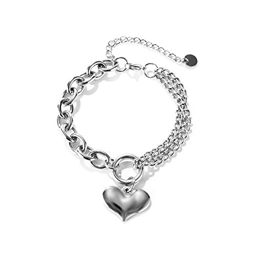 EWTY Pulseras de acero inoxidable corazón encanto vinculado cadena pulsera para mujer, regalo del día de San Valentín cadena de doble capa personalizada cadena negrita Steelcolor