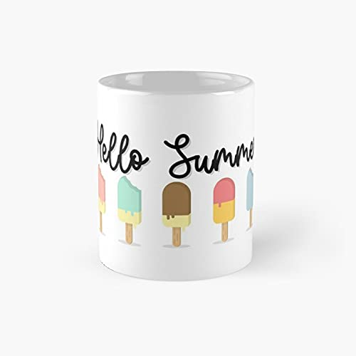 Hello Summer Popsicle Design Classic Mug - Unique Gift Ideas For Her From Daughter Or Son Cool Novelty Cups 11 Oz.