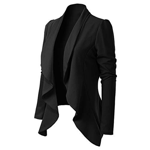 Wolfleague Veste de Tailleur Femme Chic Couleur Unie Blazer Cintré Casual Grande Taille Manteau Asymétrique Blazer Boléro Cardigan (L, Noir)