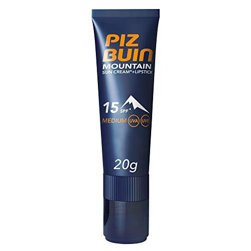 PIZ BUIN, Crema Solare più Stick Labbra, Montagna 15 SPF, Mountain, Protezione Solare Media, Filtro Solare UVA/UVB, 20g