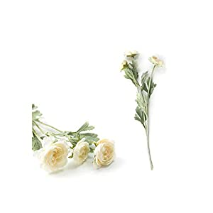 Forever Long Artificial Flowers Indoors in Vase| Beautiful British Noble Royal Family Artificial Ranunculus Asiaticus Silk Flowers 3 Heads Dew Lotus Decoration Fake Flower