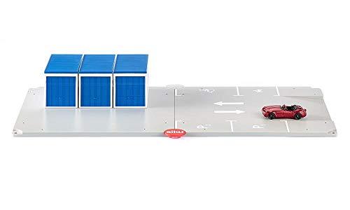 SIKU 5589 - Garagen und Parkplatz mit Fahrzeug, Kunststoff, Vielseitig einsetzbar, grau/blau
