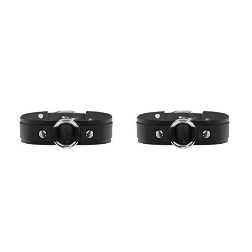 Agoky Herren 1 Paar Armbänder Oberarm Armreifen Cool Sexy Lack Leder Manschette Gurt Einstellbare Größe Schwarz One Size