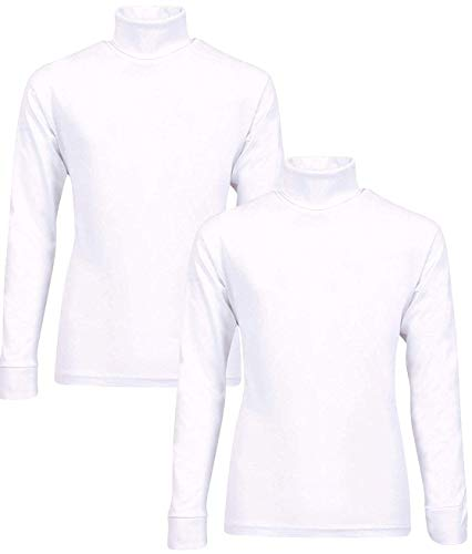 Beverly Hills Polo Club Boy's School Uniform 2-Pack Long Sleeve Turtleneck Shirts, White/White, 3T'