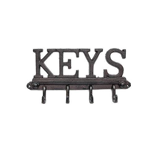Brownrolly Decoratieve wandhouder van gietijzer met schroevenankers, vintage sleutelhanger, rek voor mantels, hoeden, sleutels, handdoeken, kleding, sleutels thuis