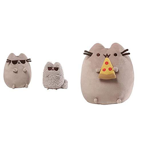 GUND Pusheen and Stormy Sunglasses Plush Stuffed Animals, Collector Set of 2, Gray Bundle Pusheen Snackables Pizza Plush Stuffed Animal Cat, 9.5'