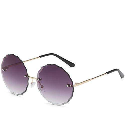 Gafas de Sol Sunglasses Gafas De Sol Sin Montura Redondas Clásicas para Mujer/Hombre Diseñador De Montura De Aleación Vintage Gafas De Sol C1Anti-UV
