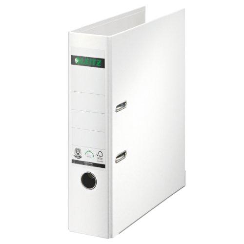 Leitz 10070001 Qualitäts-Ordner (Spezialpapierkaschierung in Leinenprägung, A4, 8 cm Rückenbreite) weiß