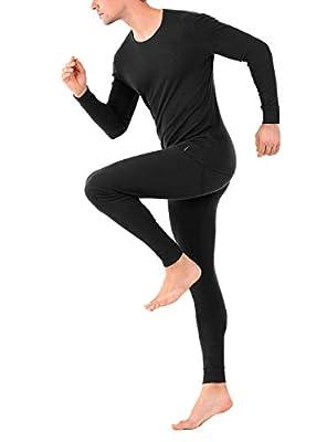 DAVID ARCHY Men's Thermal Underwear Soft Cotton Rib Stretchy Base Layer Top and Bottom Long Johns Set (L, Black)