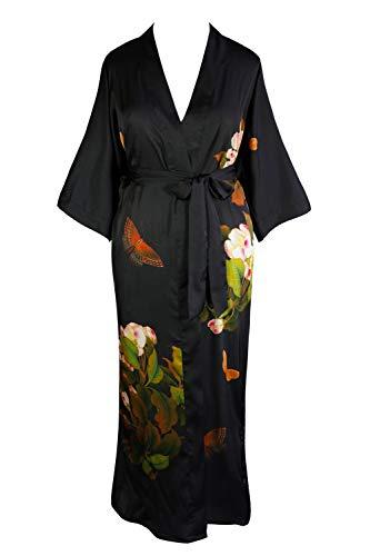 KIM+ONO Women's Plus Size Charmeuse Kimono Robe Long - Watercolor Floral - Peony & Butterfly - Black