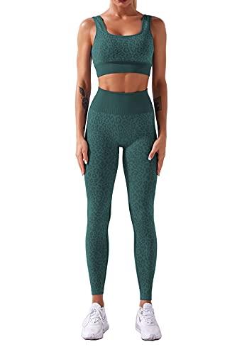 Geagodelia 2 piezas chándal deportivo para mujer y yoga con estampado de leopardo, sujetador deportivo con pantalones de yoga elásticos sin costuras, Leopardo Verde Oscuro, S