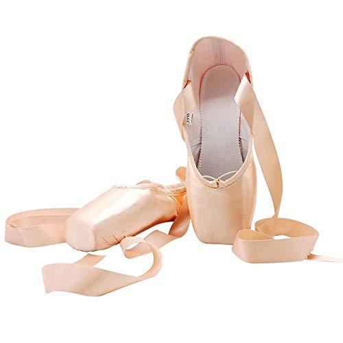 S.lemon Zapatos de Punta Zapatillas de Ballet Baile Satén con Cinta para Niñas Mujer Rosa (Numeric_41)