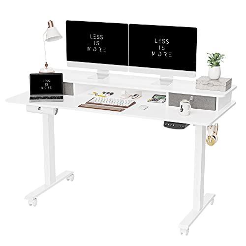 FEZIBO Mesa de pie eléctrica ajustable con cajón doble, mesa de pie de 55 x 24 pulgadas con estante de almacenamiento, escritorio con tablero de empalme, marco blanco/parte superior blanca