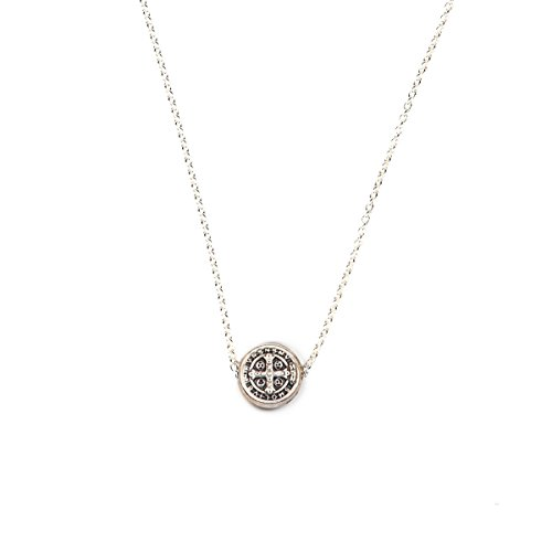 My Saint My Hero Benedictine Petite Necklace - Silver tone, includes floating silver Benedictine Medal of Protection