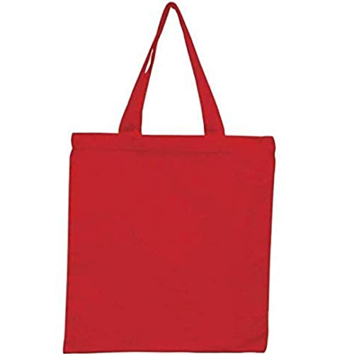 "(Pack of 50) Red Color Reusable Cotton Canvas Tote Bags, 15x16 6 Oz. Useful as Cotton Grocery Tote Bag, Shopping Tote Bag, Travel Tote Bag (Red, 50pcs 15""w x 16""h)"