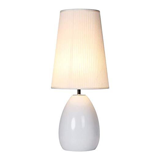 RTDotey Lámpara La Noche, Diseño Simple Lámpara Mesa LED Led Cerámica Sala Estar Cerámica Dormitorio Familiar Lámpara Noche - Lámpara De Mesa Blanca Y Negra/Lámpara De Escritorio,Blanco