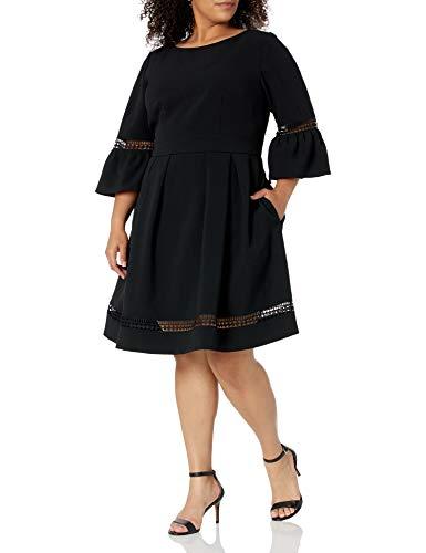 Eliza J Women's Bell Sleeve Fit and Flare Dress (Regular, Petite, & Plus), Black, 4P