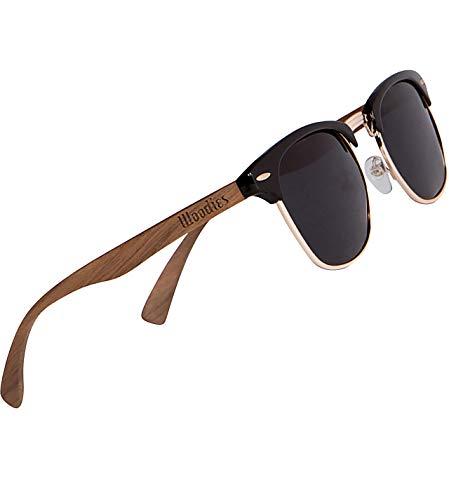 WOODIES Gafas de sol polarizadas de madera de nogal para hombres y mujeres | Lentes polarizadas negras y marco de madera real | 100% protección contra rayos UVA/UVB