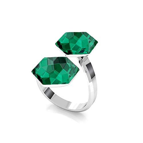 Beforya Paris - Hexagon - 925 Silber Doppelt Ring - Viele Farben - Verlobungsring mit Swarovski® - 925 Sterling Silber Damen Ring Größe Verstellbar PIN/75 (Emerald)