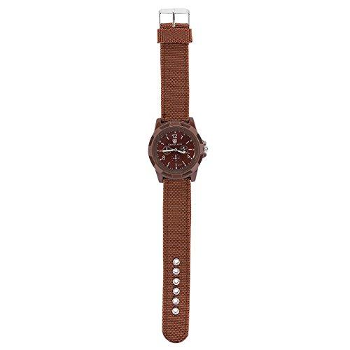 【素敵な夏】電子アナログ腕時計ラウンドナイロンストラップミリタリー腕時計 4色(ブラウン)