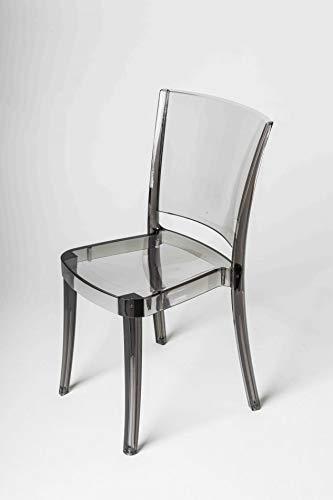 Lucienne 10L20014 Chaise transparente en polycarbonate fumé – Lot de 4 chaises